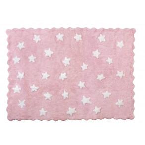 Alfombra Algodón Lavable Estrellas Eden Rosa