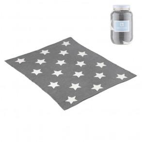 Manta Algodó;;n 80 x 100 Estrellas Gris