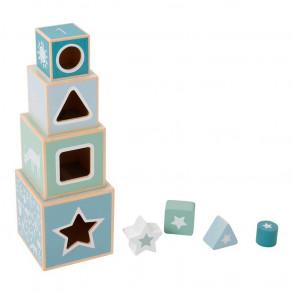 Cubos Apilables Madera Azul