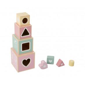 Cubos Apilables Madera Rosa