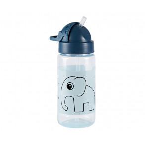 Botella con Pajita Elefante Azul