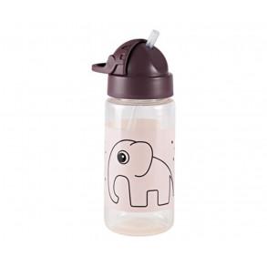 Botella con Pajita Elefante Rosa
