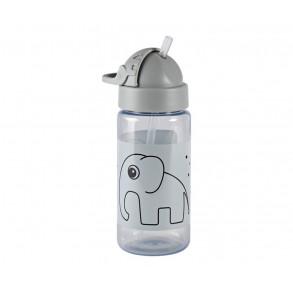 Botella con Pajita Elefante Gris